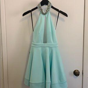 NWT Bebe Embellished Neck Backless Halter Dress